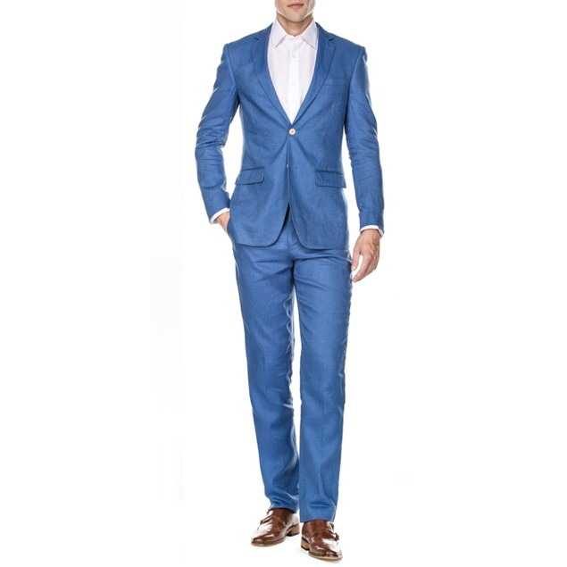 Gino Vitale Men's Slim Fit Pure Linen 2pc Suits