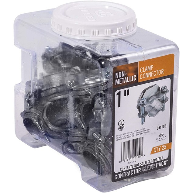 "Halex 1"" Non-Metallic Twin Screw Flexible Cord Conduit Clamp Connector, 25"