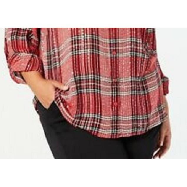 Style & Co Women's Plus Size Plaid Shirt Mediun Red Size 3X