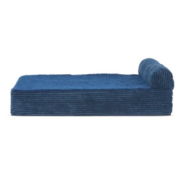 FurHaven Faux Fleece & Corduroy Chaise Lounge Memory Foam Pet Bed