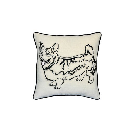 "Corgi Dog Portrait Printed Design Novelty White Cotton Pillow 15""x15"""