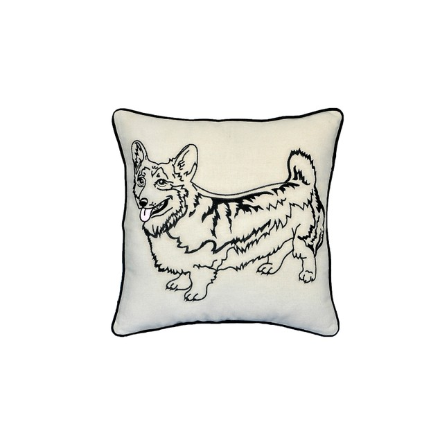 "Corgi Dog Portrait Printed Design Novelty White Cotton Pillow 15""x15"""