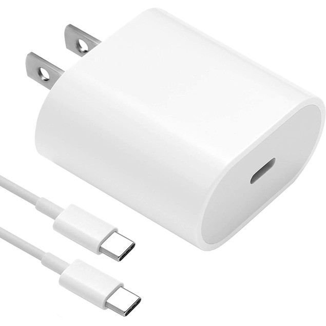 18W USB C Fast Charger by NEM Compatible with Samsung Galaxy S20+ - White