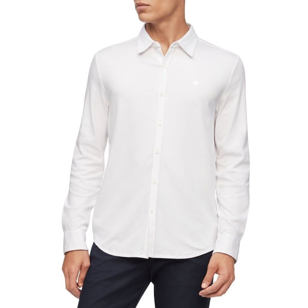 Calvin Klein Men's Liquid Touch Knit Shirt White Size X-Large