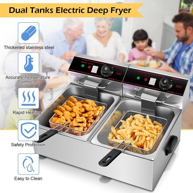 Costway 3400w Electric Countertop Deep Fryer Dual Tank Commercial Restauran