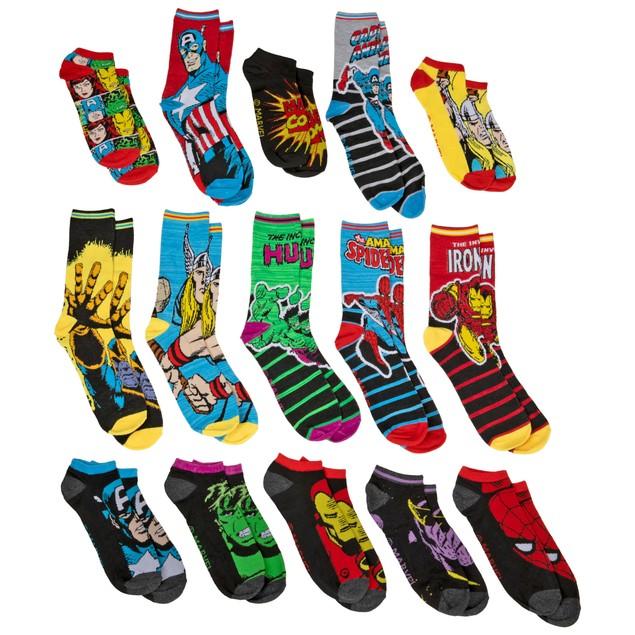 Marvel Comics 15 Days of Socks Advent Gift Box Men's Socks