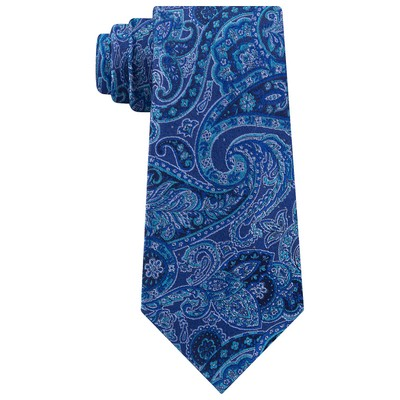 Michael Kors Men's Balanced Classic Paisley Silk Tie Blue Size Regular