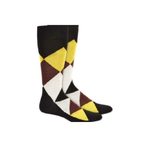 Alfani Men's Argyle Socks Brown-Yellow Size 7-12