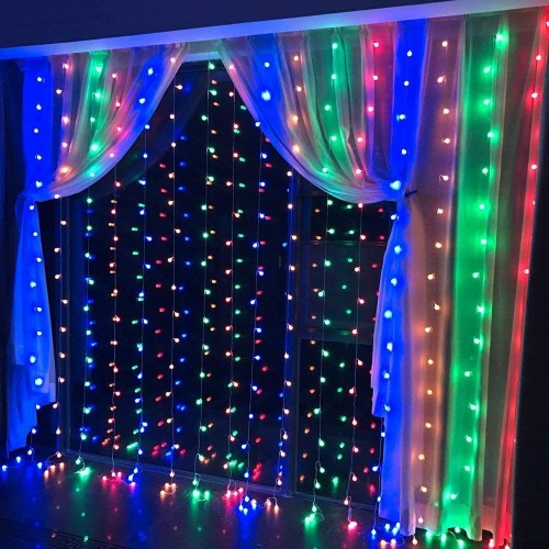 19.6*6.6FT 448LED RGB MULTI-COLOR WATERPROOF STRING FAIRY CURTAIN LIGHTS