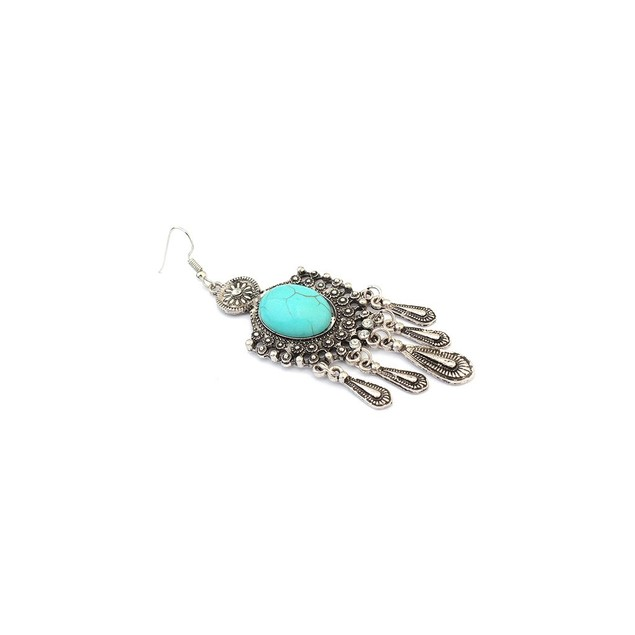 Novadab Sturdy Turquoise Earrings with droplet hangings