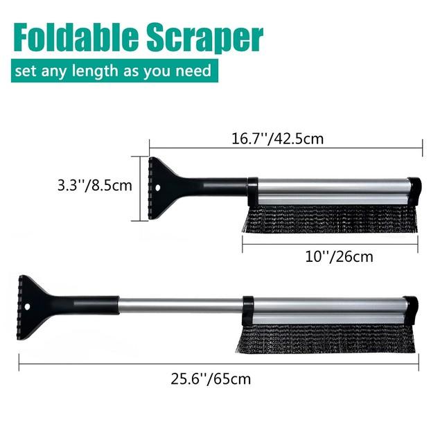 ODOLAND Foldable Snow Scraper Slim-Line Snow Broom for Cars Trucks SUVs