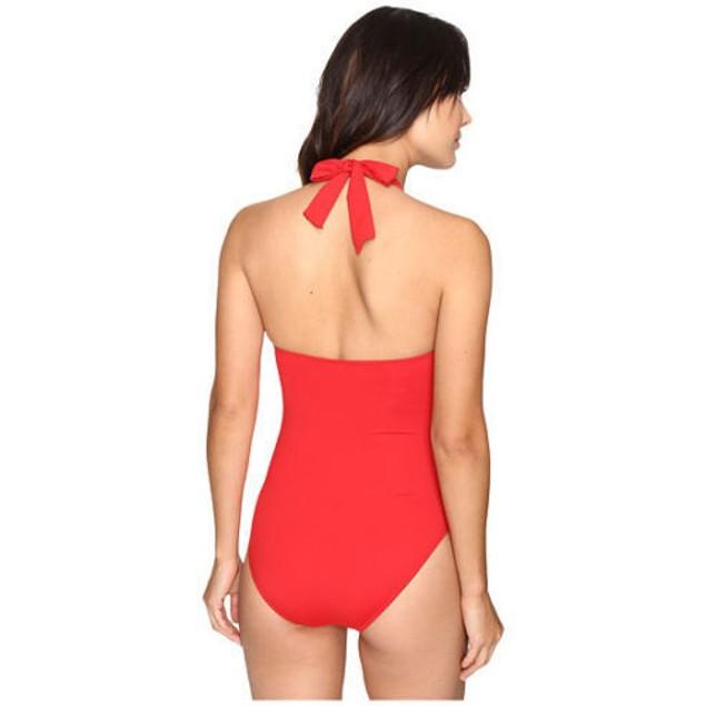 LAUREN Ralph Lauren Womens Slid Halter Mio One-Piece RED LR7DB06 SIZE 6