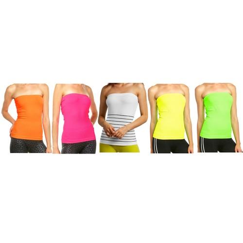 5-Pack: Women's Seamless Long Length Bandeau Bra Tops Tube Tops