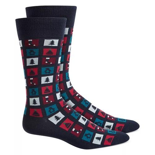 Alfani Men's Stamp Socks Blue Size Regular