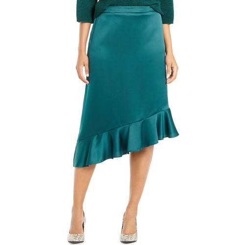 Alfani Women's Asymmetrical Ruffle-Hem Skirt Dark Green Size 10