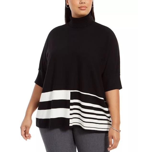 Alfani Women's Colorblocked Turtleneck Poncho Black Size 3X