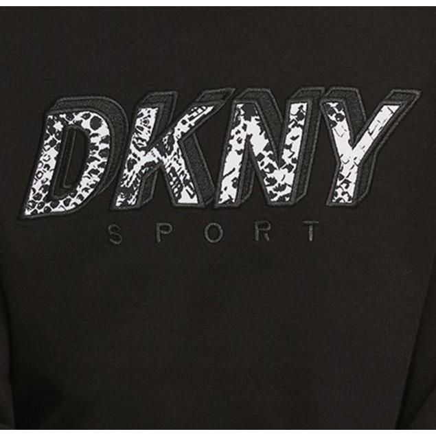 DKNY Women's Sport Printed-Logo Fleece Sweatshirt Black Size X-Small