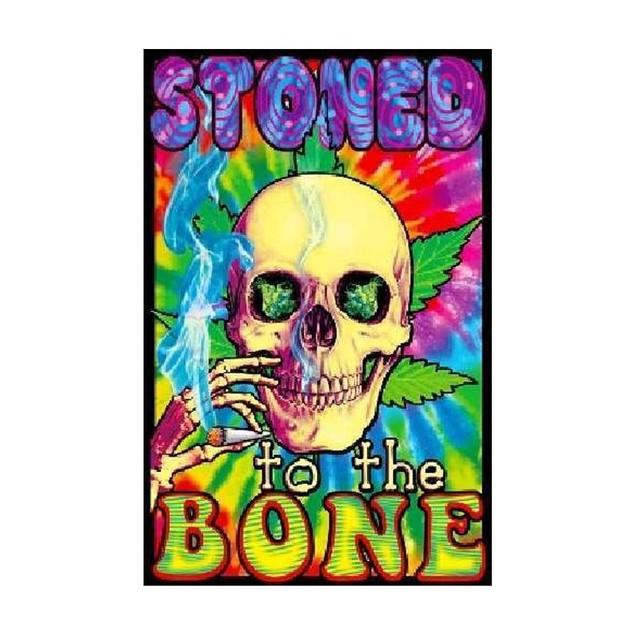 """Stoned To The Bone Blacklight Poster 24"""" x 36"""" Marijuana Weed Pot Skull"""