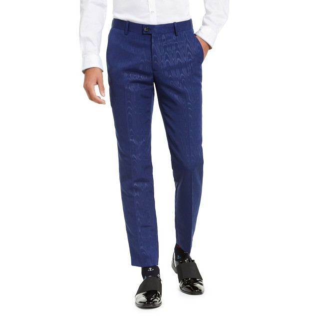 INC International Concepts Men's  Slim-Fit Oil Slick Pants Blue Size 36x30