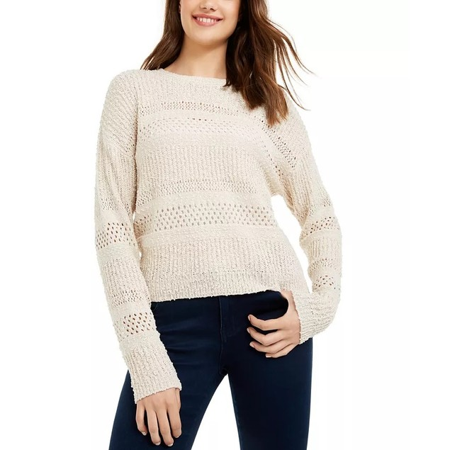 Hooked Up By Iot Juniors' Stitched Sweater Lt Beige Size Large