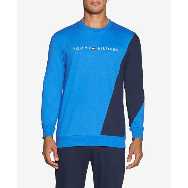 Tommy Hilfiger Colorblocked Long-Sleeve Sweatshirt Blue Extra Large