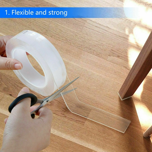 5M Washable Reusable Nano Grade Double Sided Tape For Walls Gel Tape Anti-Slip