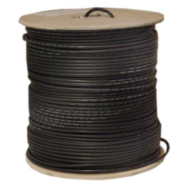 Bulk RG58/U Coaxial Cable, Black, 20 AWG, Solid Core 1000 foot