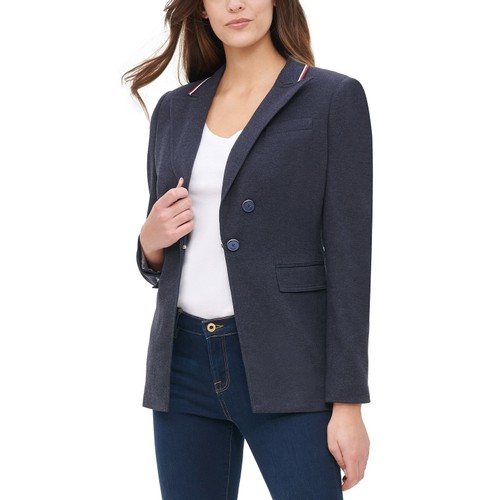 Tommy Hilfiger Women's Ribbon-Trim Blazer Navy Size 8
