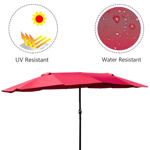Costway 15' Twin Double Sided Market Outdoor Umbrella
