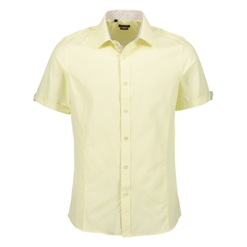 Rosso Milano Modern Fit Short Sleeve Bright Yellow Solid Dress Shirt