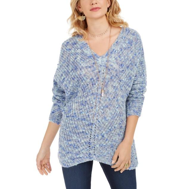 Style & Co Women's V-Neck Dolman-Sleeve Sweater Blue Extra Large