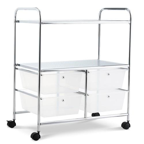 Costway 4Drawer Rolling Storage Cart shelf Scrapbook Paper Office School Or