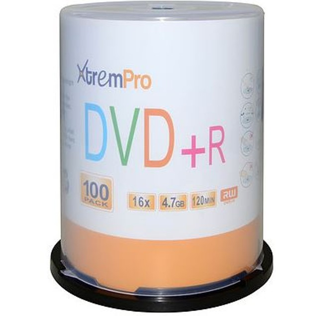 DVD+R 16X 4.7GB 120 Min Recordable DVD 100 Pack Blank Discs in Spindle case