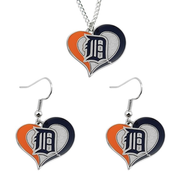 MLB Swirl Heart Necklace and Dangle Earring Set Charm Gift