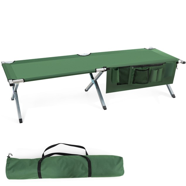 Folding Camping Cot Heavy-duty Camp Bed W/Carry Bag for Traveling Beach Voc
