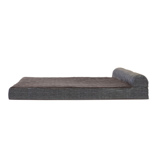 FurHaven Quilted Fleece & Print Suede Chaise Lounge Memory Foam Pet Bed