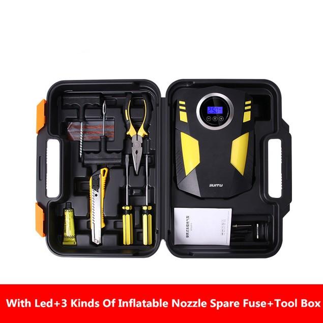 Car Air Pump Digital Display Model With Toolbox Car Tire Air Pump 12v Portable Air Pump