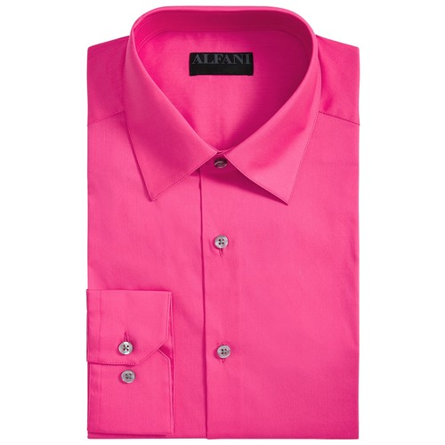 Alfani Men's Stretch Easy-Care Solid Dress Shirt Pink Size 14x32-33