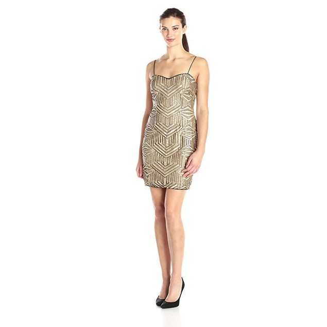 Aidan by Aidan Mattox Women's Sleeveless Beaded Cocktail Dress, Gold,