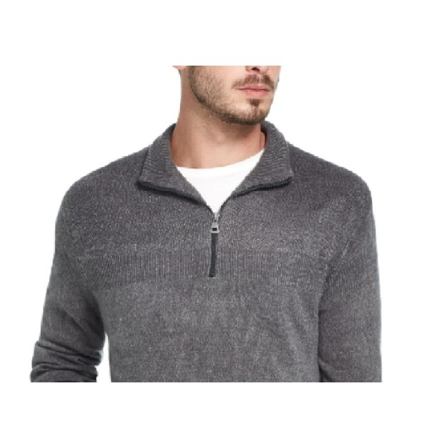 Weatherproof Vintage Men's Soft Touch Quarter-Zip Sweater Gray Size Small