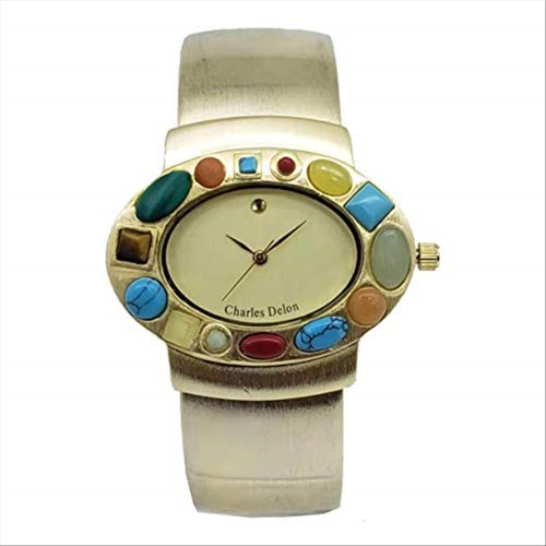 Charles Delon Women Watches 4108 LACD Gold with Colors Stones Stainless Steel