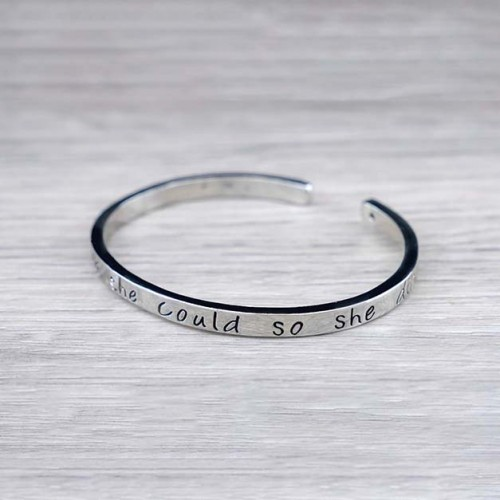 """""""She believed she could so she did"""" Inspirational Cuff Bracelet"""