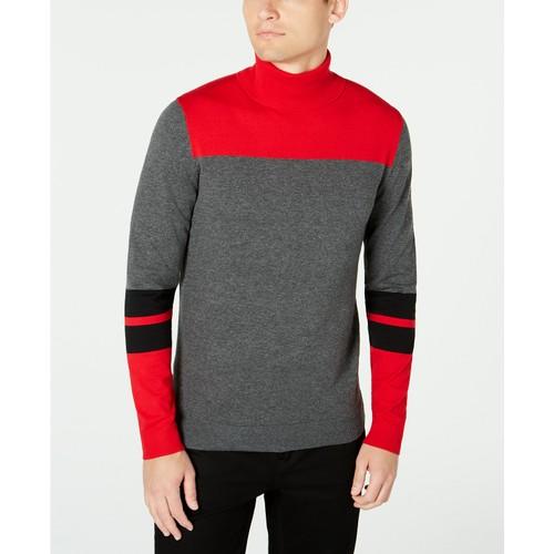 Alfani Men's Blocked Turtleneck Sweater Red Size Medium