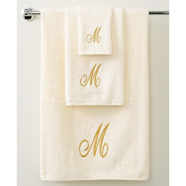 "Avanti Bath Towels Monogram Initial Script 27"" x 52"" Bath Towel, Ivory and"