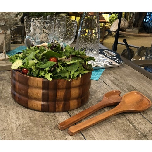Acacia Wood Extra Large Salad Bowl w/ serving utensils
