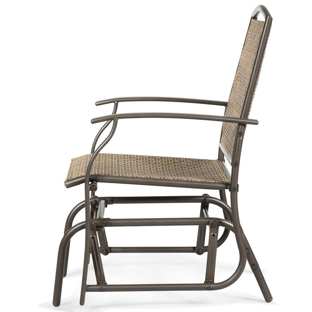 Costway Patio Swing Single Glider Chair Rocking Seating Steel Frame Garden