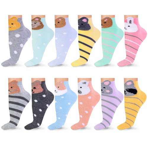 Women's Patterned Multi-Color Ankle Socks (12 or 18 Pairs)