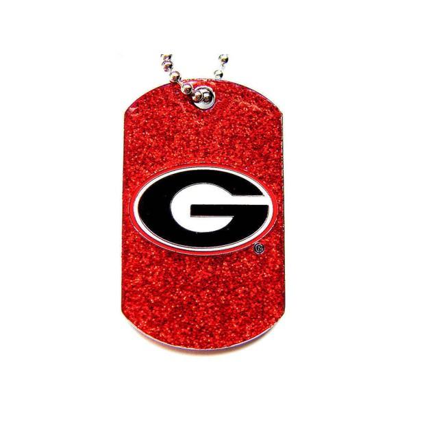 Georgia Bulldogs Dog Fan Tag Necklace Glitter Sparkle