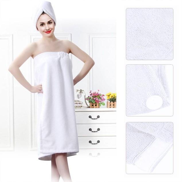 Women Soft Spa Bath Body Wrap Set Towel Bathrobe With Fast Dry Hair Drying Cap