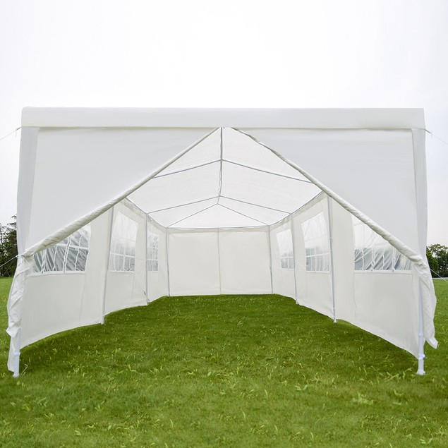 Costway 10'x30' White Outdoor Gazebo Canopy Tent With 8 Removable Walls